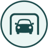 Icon representing enclosed parking facilities