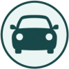 Circular Icon with a silhouette of a passenger vehicle facing forward